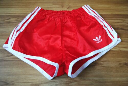 VINTAGE ADIDAS MADE IN WEST GERMANY SPRINTER RED POLYAMIDE NYLON GLANZ SHORTS XS