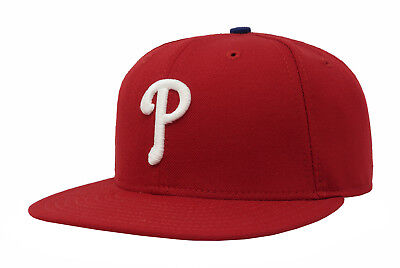 New Era 59Fifty MLB Cap Philadelphia Phillies AC On Field Red Mens 5950 Game Hat - Field 59fifty 5950 Game Cap