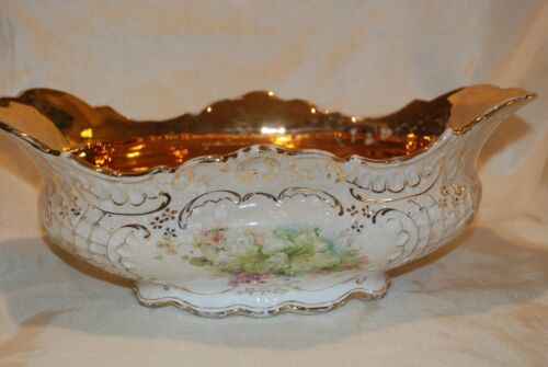 1904 Antique Pre-Hull ACME Pottery Co Lg Tureen Bowl Gold Lined Trim Floral 13""