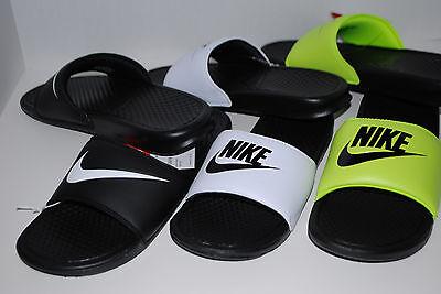 NWT NIKE BENASSI 2 JDi SWOOSH BLACK WHITE VOLT 9 10 11 12 13 shoe sandals slides