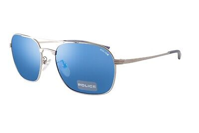 Police Sunglasses Rival 1 S8952M 581B Silver Blue Mirror Sunglasses