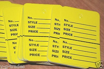 Lot 100 Yellow Small Perforated Unstrung Price Merchandise Store Tags Bundle