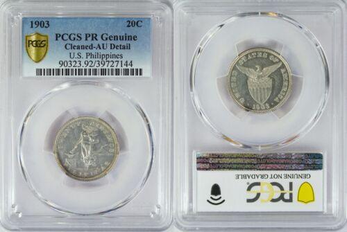 1903 US/Philippines 20 Centavos PROOF ~ PCGS AU Details ~ Allen#10.01 ~ 144
