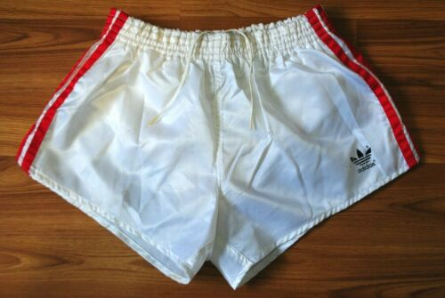 ADIDAS SHORTS VINTAGE NYLON SIZE S-M 80-90s MADE IN WEST GERMANY GLANZ WHITE D5