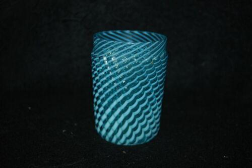 VICTORIAN BUCKEYE MODEL FLINT BLUE OPALESCENT REVERSE SWIRL TUMBLER 1890