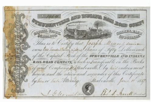 Steubenville and Indiana Rail Road Company. Stock Certificate. 1857