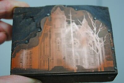 Antique Copper Printers Printing Block -first Baptist Church