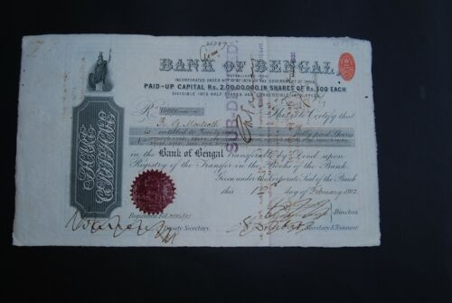 INDIA: Bank of Bengal, shares, 1912