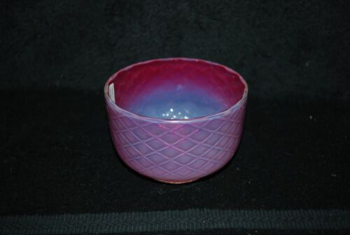 BEAUTIFUL VICTORIAN PHOENIX DIAMOND QUILTED CRANBERRY OPALESCENT BOWL 1880