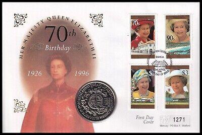 1996 Samoa Queen Elizabeth II 70th Birthday $1 1 Tala Coin Mercury FDC