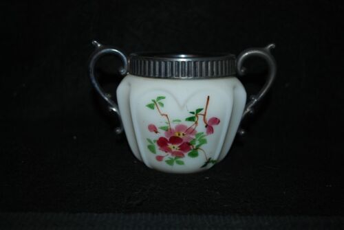 VICTORIAN EAPG CONSOLIDATED OPAQUE OPEN HEARTS & ARCHES OPEN SUGAR BOWL 1890