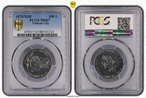 1975/XIII VATICAN CITY 100 LIRE PCGS MS67 GEM UNC FINEST KNOWN WORLDWIDE BU (DR)