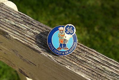 Home Depot Mascot GE Lighting Orange Apron Bulb Metal Enamel Lapel Pin Pinback