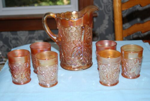 Dugan Marigold Carnival Glass Maple Leaf Pitcher & 6 Tumblers Set