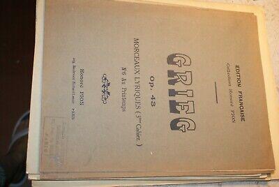 Partition Ancienne Morceaux lyriques Op. 43 3e cahier GRIEG