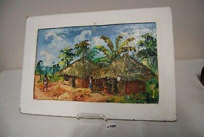 C198 Oeuvre signée - peinture à l'huile - M Germain - tribu africaine