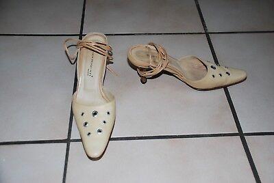 """Escarpins à lacets Sandales """"LEA FOSCATI""""en cuir beige pointure 37 Très Bon Etat"""