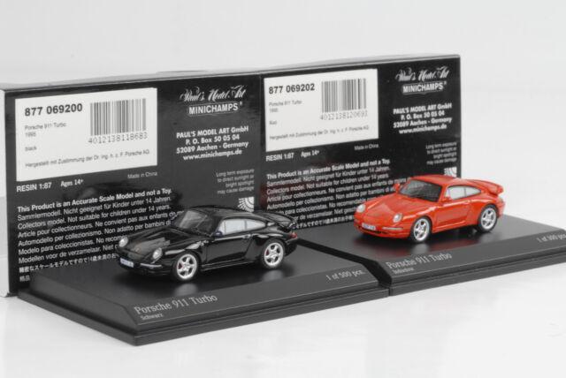 1995 Porsche 911 993 Turbo Set black red schwarz rot 1:87 Minichamps