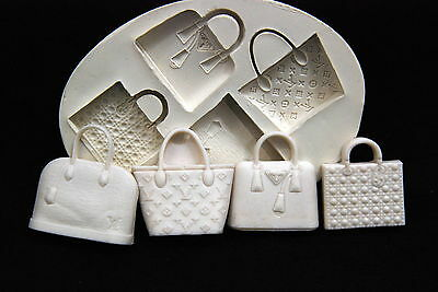 Luxury Bag SET #1, Silicone Mold Chocolate Polymer Clay Jewelry Soap Melting Wax