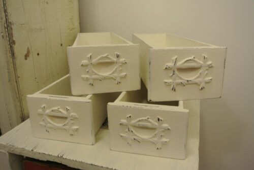 Antique Shabby chic set of 4 WHITE Singer Treadle Sewing Machine Drawers!