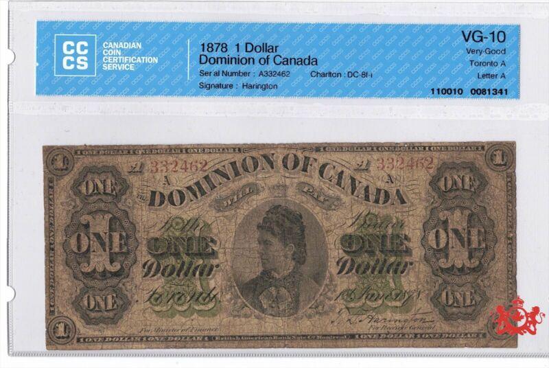 1878 Dominion Of Canada 1$ DC-8f-i - CCCS VG10 -