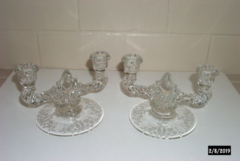 Pair Antique Pressed Glass Candle Holders with Etched Base