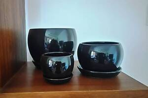 Pot Clearance - Set of 3 Black or White Bell pots $34 Bellara Caboolture Area Preview