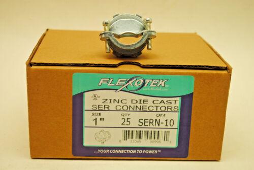 "Box of 25 Flexotek 1"" SER Die Cast Connector Fits NM Cable or Flex Cord 2-Screw"
