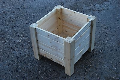 Wooden Square Pot, Set of Two, 35 x 35 x 30 cm of Solid Wood - Unpainted