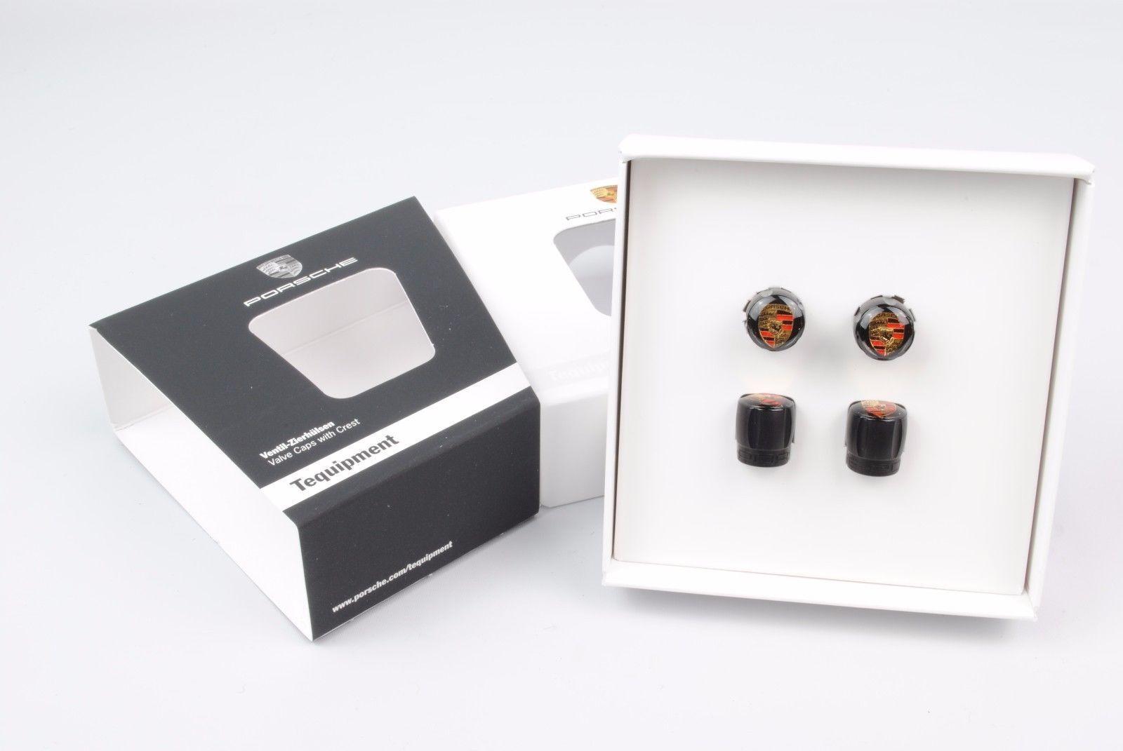 Genuine Porsche Black Valve Stem Cap with Colored Crest Set 991-044-602-67