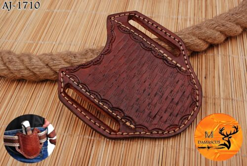"""4"""" x 4"""" HAND MADE COW ENGRAVED LEATHER SHEATH FOR FOLDING KNIFE - AJ 1710"""