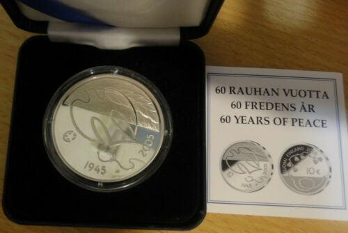 Finland Silver 10 Euro 2005 60 years Peace and Freedom PROOF ~Box & COA