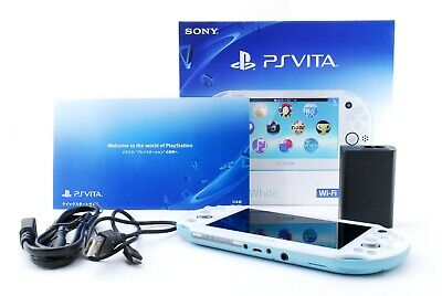 Sony PS Vita Light Blue White PCH-2000 w/ Charger + Box From Japan [Excellent+]