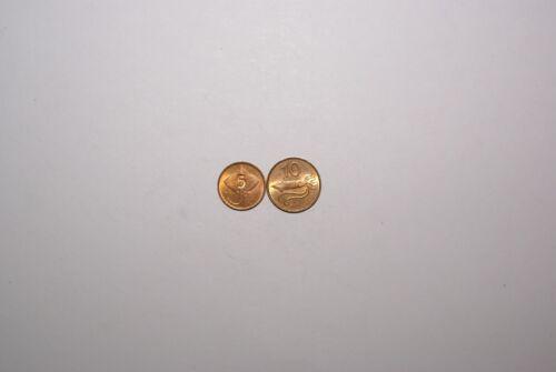 2 COINS from ICELAND - 5 AURAR w/ STING RAY & 10 AURAR w/ SHRIMP (BOTH 1981)