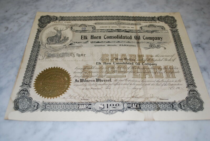 Stock Certificate - Elk Horn Consolidated Oil Company – Arizona 1902