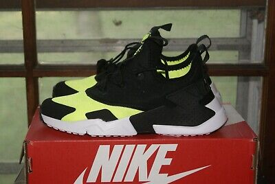 Youth Kids Nike Huarache Run PS Black White Volt Size 5.5 or 6 or 7 Y