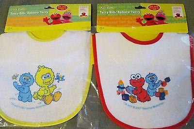 New 2 Sesame Street baby Infant  terry cloth Bibs Big Bird Elmo Cookie Monster