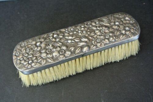 "Antique Sterling Silver Floral Repousse 7.5"" Clothes Brush"