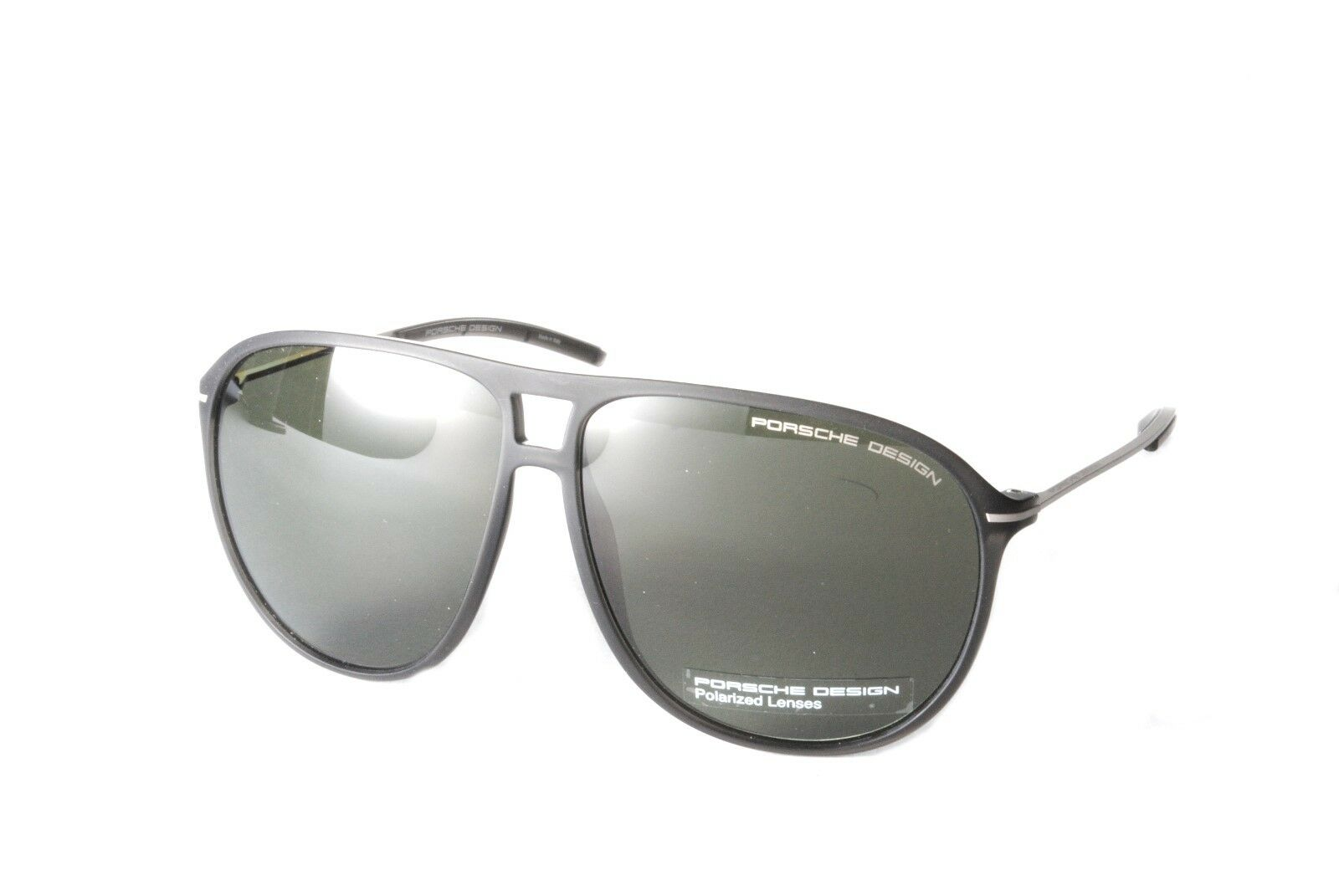 5635ce2f6b8 Porsche Design P8635A Matt Black Silver Green Polaried Sunglasses