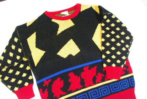 Vintage 80s Color Block Abstract Acrylic Sweater Bright Bold Geometric Womens L
