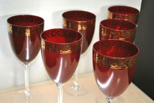 VINTAGE SET OF (6) RUBY RED LONG STEM WINE GLASSES WITH GOLD GILD FILIGREE RIM
