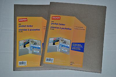 Staples Set Of 2 Gold Poly Pocket Presentation Folder Folders Cover 39394
