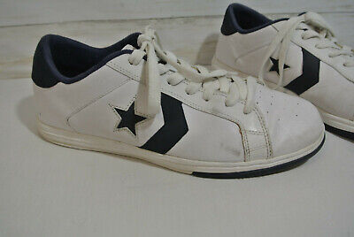 CONVERSE All Star Sz. 13 Men White Blue LEATHER Low Top Shoes Sneakers skate
