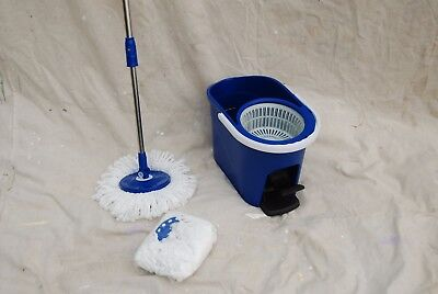 Spin Mop 360 System W 2 Microfiber Mop Heads And Spin Bucket Dk Blue New In Box