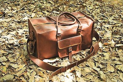 New Men's duffel Lightwieght genuine Leather large vintage travel gym Squre bag