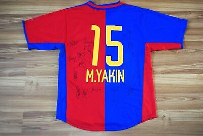 FC BASEL 2002-2003-2004 FOOTBALL HOME JERSEY SHIRT #15 M. YAKIN SIGNED RARE VTG image