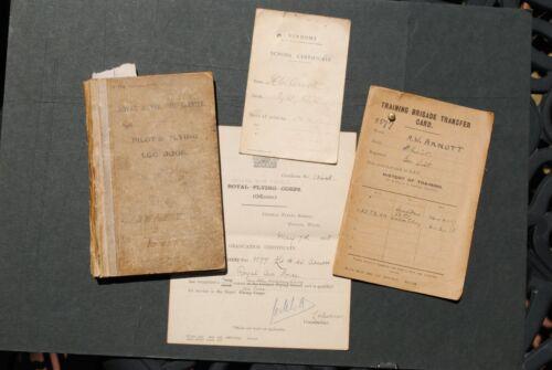 WW1 RFC/RAF Pilot Instructor Logbook + Trans. Card + Grad. Cert. + Vendome Card