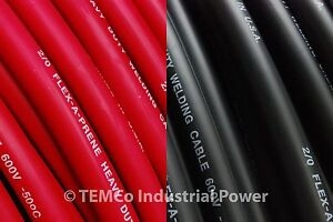 WELDING-CABLE-2-0-50-25-BLACK-25-RED-CAR-BATTERY-LEADS-USA-NEW-Gauge-Copper-AWG