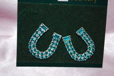 Horseshoe Stud Earrings Blue Crystal Western Rodeo Stock Show Horse Ferrier - Blue Horseshoe