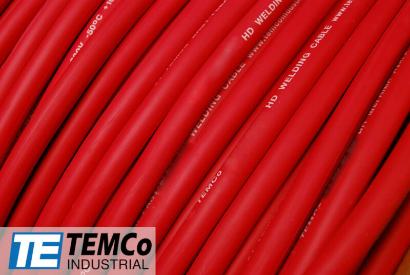 WELDING CABLE 1/0 RED Per-Foot CAR BATTERY LEADS USA NEW Gauge Copper Solar